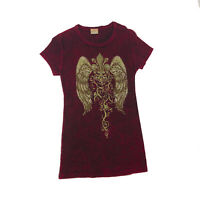 EUC Daytrip Burgundy Studded Wings T-Shirt Small
