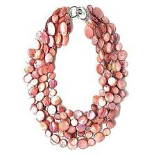NEW LUSTROUS PINK 6 STRANDS OF MOTHER OF PEARL COIN DISC NECKLACE