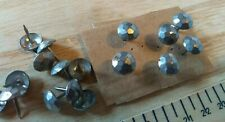 50 Vintage Faceted Cut Steel Effect Upholstery Pins etc  11 mm Dia