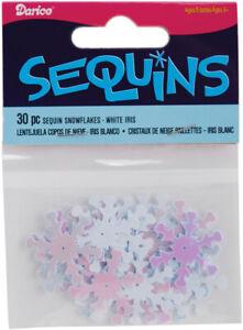Snowflake Sequins White Iridescent 1 Inch