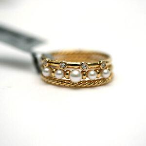 DAVID YURMAN New 8mm Petite Perle 18K Yellow Gold Pearl Diamond 3 Row Ring  7
