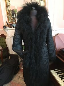 Real Mongolian Fur Trimmed Afghan Penny Lane Boho Coat