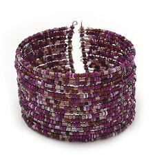 Boho Pastel Purple/Violet/Pink Glass Bead Cuff Bracelet - Adjustable (To All Siz