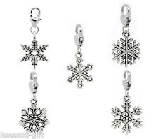 30 Christmas Snowflake Clip On Charm Fit Chain Bracelet