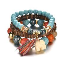 Wooden Beads Bracelets For Women Bohemia Elephant Tassel Charm Bracelet Bangles