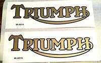 "Triumph 2"" x 6"" gold with black border die cut vinyl gas tank transfers, pair"