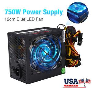750W 750WATT Gaming LED Large Quiet Fan ATX Power Supply SATA 12V PCI-E PSU 12CM