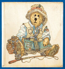 Boyd's Bears Otis the Fisherman Rubber Stamp - Teddy Bear with Fishing Rod, Gear
