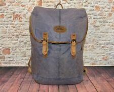 LL BEAN Waxed Cotton Canvas Laptop Backpack Bag Blue