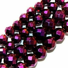 MAGNETIC HEMATITE BEADS FACETED AMETHYST RED PLATED 6MM ROUND BEAD STRANDS FMH1