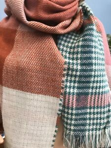 """Accessorize Green Pink Check Warm Fringed Scarf Shawl Wrap 76"""" x 28"""" inches"""