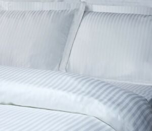 NEW Pack of 3 KING Luxury Deep Pocket FITTED White Satin Stripe Sheets