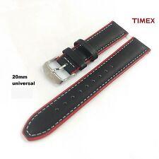 20mm Uhren Ersatzarmband Leder Ersatzband Uhrenband universal schwarz rot 20mm