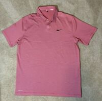 Nike Tiger Woods Collection Mens Polo Golf Shirt - L Red Thin Stripe