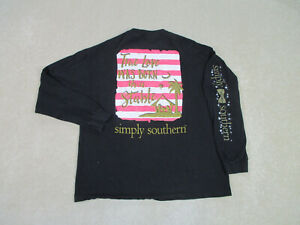 Simply Southern Shirt Women Extra Large Black True Love Long Sleeve Ladies A29