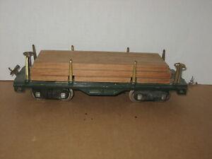 Standard Gauge Lionel 511 Green Flat car with Wood Load 1927-40
