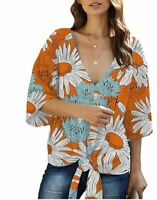Womens 3/4 Sleeve Loose Fit Tie Front V-Neck Top Blouse Orange Floral Small NWOT