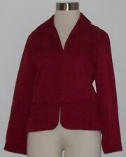 Blazer Jacket Coat Chico's Size 1 Deep Red Short Style Lined Silk Rayon NWOT