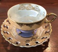 Shafford Lusterware 3-Toed Footed Tea Cup and Reticulated Saucer Handpainted