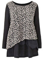 Together top blouse plus size 16 18 22 24 26 30 32 black woven jersey lace