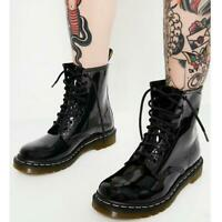 Womens Ladies Ankle Boots Lace Up Flat Shoes Army Worker Grunge Goth Thick Sole