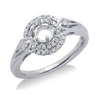 14K WHITE GOLD DIAMOND PAVE ROUND HALO FILIGREE ENGAGEMENT SEMI MOUNT RING