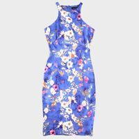 Zara Blue Pink Orange Floral Bodycon Wiggle Midi Dress S - B73