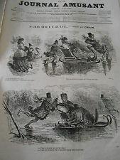 Journal Amusant 1864  Paris sur la Glace Les Martyrs du Carnaval