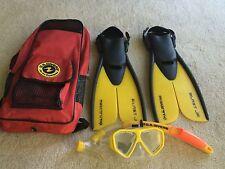 US Divers Blast Jr. Snorkel Set Youth size 1-4 L/XL swim fins snorkel mask bag