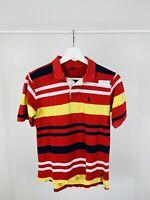 Men's Vintage Ralph Lauren Short Sleeve Polo Shirt Striped Red Small