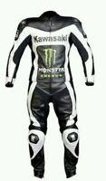 Kawasaki Motociclista Tuta Pelle Giacca Pantalone Corsa Stampato Abito Protezion