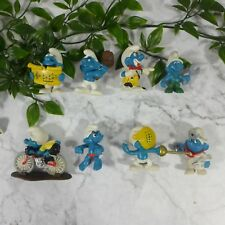 Mixed Lot of 8 Vintage 1980's Blue Official Smurf Small Figures Toys 2""
