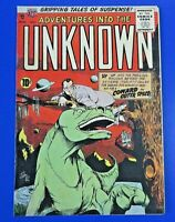 ADVENTURES INTO THE UNKNOWN #64 GOLDEN AGE COMIC BOOK 1955 DINOSAUR COVER ~ VG