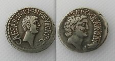 COLLECTABLE SILVER MARK ANTONY & OCTAVIAN ROMAN DENARIUS COIN - DATES 41 BC