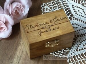 Wedding Ring Box. Rustic Country Barn Wooden Ring Holder. Personalized Engraved