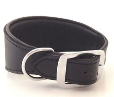 HAND MADE BLACK PADDED LEATHER WHIPPET LURCHER GREYHOUND DOG COLLAR SOFT