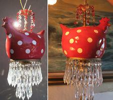 1 Lg Porcelain Red chicken Swag Lamp brass crystal Kitchen Dining Chandelier