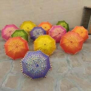 5 PC Lot Indian Decorative Umbrella Traditional Wedding Designer Sun Parasol