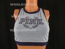 Victoria's Secret PINK Blue Crest Cropped Neck Sports Yoga  Bra L (A-C) NWT