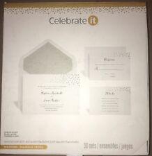 CELEBRATE IT WEDDING INVITATION KIT SET OF 30 SILVER DOTS NEW IN BOX