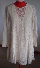 Abercrombie & Fitch Women Junior Medium Cream Beige Lace Dress Long Sleeve BoHo