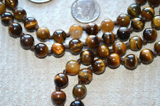 Brown Tiger Eye Hand Knotted8mm 108+1 Wrist Mala Prayer Beads Necklace - Blessed