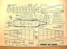 "PEANUT SCALE GRUMMAN TBM-3 AVENGER FLYING MODEL AIRPLANE PLAN 13"""