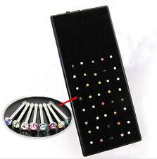 40X Crystal Rhinestone Women Nose Ring Bone Stud Body Piercing Jewelry NEW