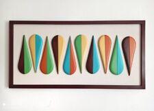 Mid Century Modern Wall Art - Wood Sculpture - Retro Color Art