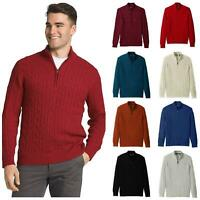 Mens Pure Cotton Zip Neck Cable Knit Jumper Sweater US Designer Brand IZOD