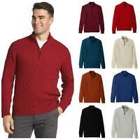 IZOD Mens Pure Cotton Zip Neck Cable Knit Jumper Sweater US Designer Brand