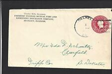 DELREY, ILLINOIS 2CT RED ENTIRE, IROQUIS CO DPO, 1854/1953