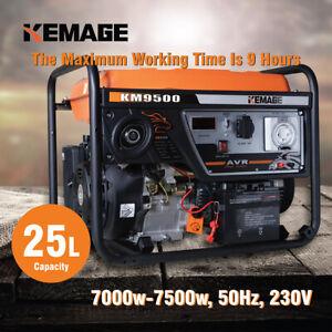 KEMAGE Petrol Generator 7.5kVA Max 7kVA Rated Single-Phase Portable Pure Sine
