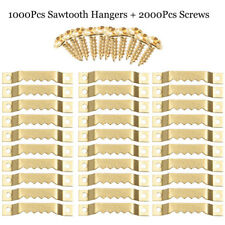 1000Pcs Frames + 2000 Screws Gold Hanging Hangers Double Hole Sawtooth Picture
